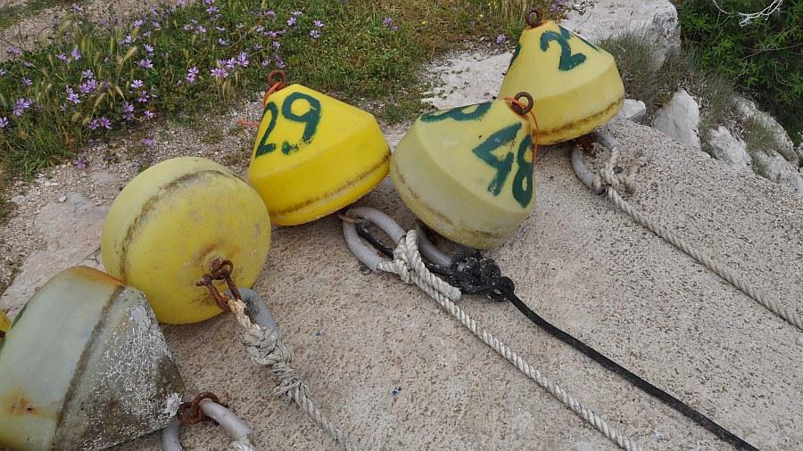 Ankerboje vor dem Setzen auf der Insel Unije
